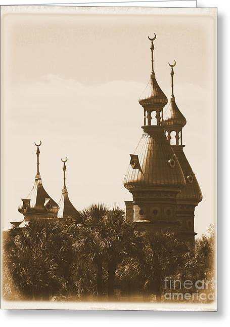 Campus Landscape Greeting Cards - University of Tampa Minarets with Old Postcard Framing Greeting Card by Carol Groenen