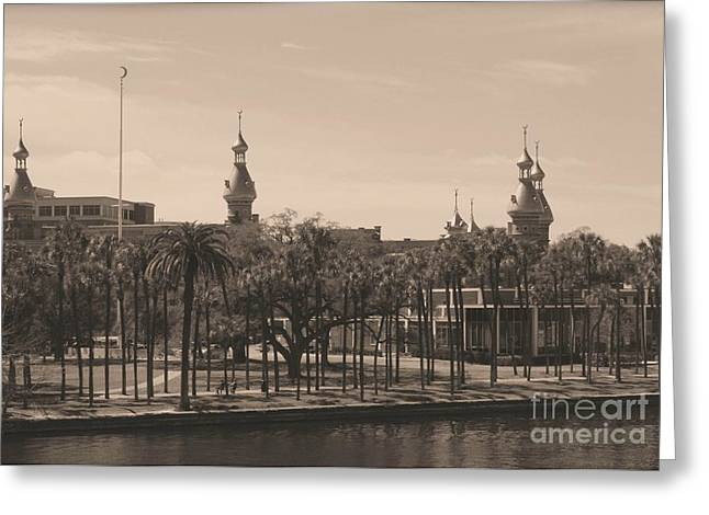 Old Postcards Greeting Cards - University of Tampa with Old World Framing Greeting Card by Carol Groenen