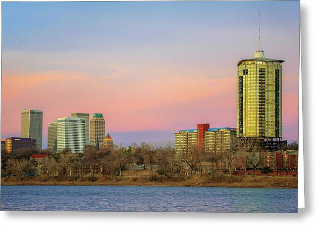 University Tower And Downtown Tulsa Skyline Greeting Card by Gregory Ballos