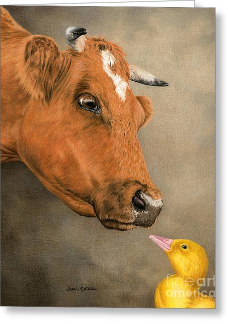 Baby Animal Drawings Greeting Cards - Unlikely Friends Greeting Card by Sarah Batalka