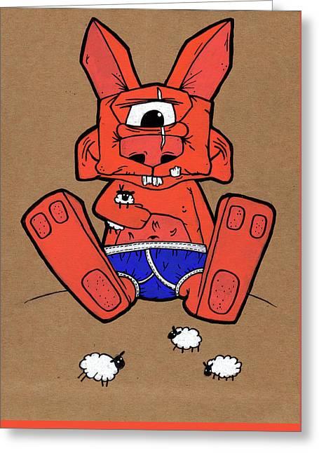 Uno The Cyclops Bunny Greeting Card by Bizarre Bunny