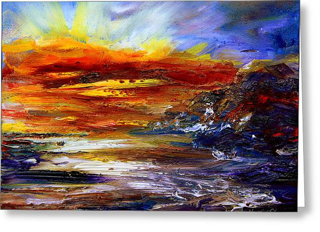 Sunset Abstract Greeting Cards - Unpredictable Greeting Card by Hanne Lore Koehler
