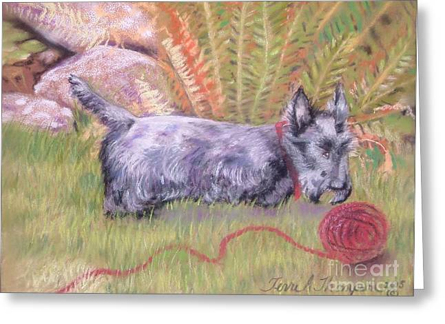 Scotty Dog Greeting Cards - Unraveled Greeting Card by Terri Thompson