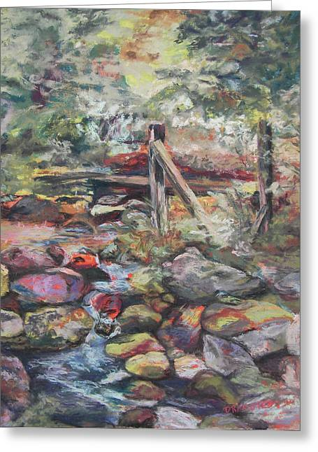 Brook Pastels Greeting Cards - Unseated on Trout Brook Greeting Card by Alicia Drakiotes
