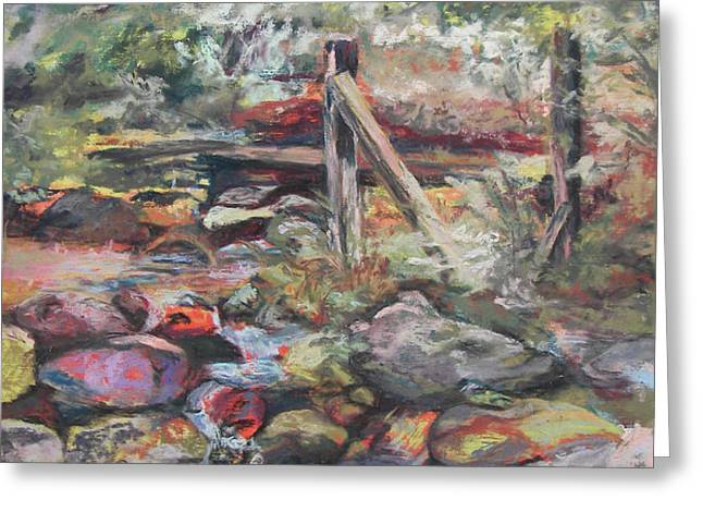 Unseated on Trout Brook Greeting Card by Alicia Drakiotes