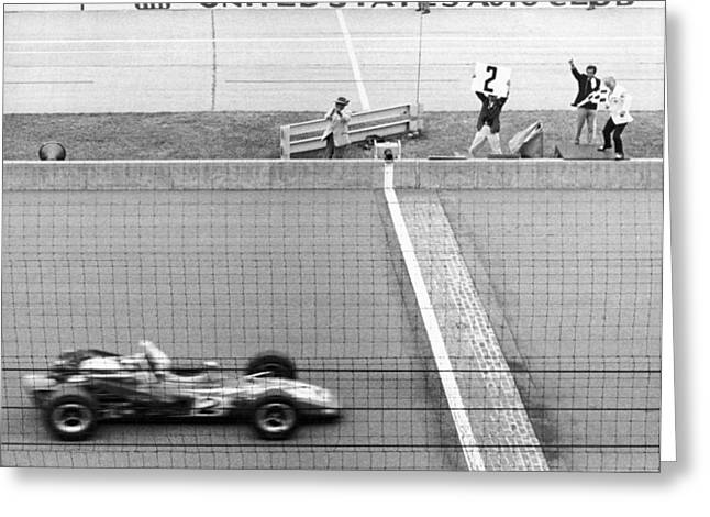 Unser Wins Indie 500 Greeting Card by Underwood Archives