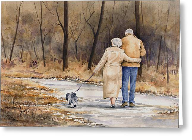 Walk Paths Paintings Greeting Cards - Unspoken Love Greeting Card by Sam Sidders