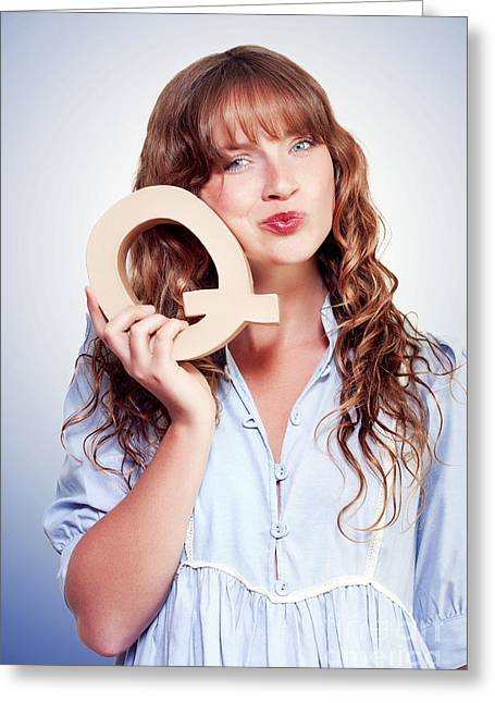 Ignorance Greeting Cards - Unsure Female student with letter q for question Greeting Card by Ryan Jorgensen