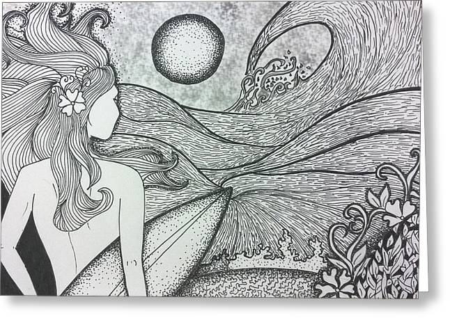 Surfing Art Drawings Greeting Cards - Untitled 15 Greeting Card by Sreejith V
