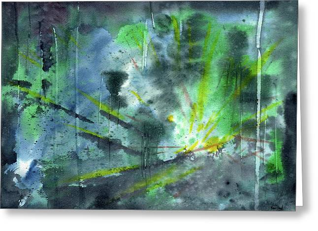 Burst Paintings Greeting Cards - Untitled Abstract Watercolor Greeting Card by Sean Seal