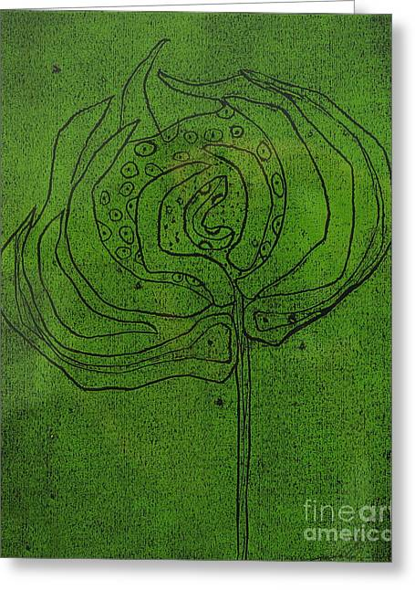 Linoleum Cut Greeting Cards - Untitled Greeting Card by Angela Dickerson