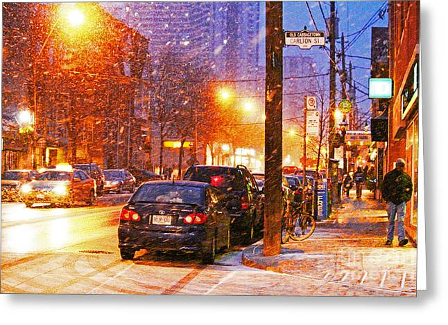 City Lights Greeting Cards - Untitled Cabbagetown Greeting Card by Mike Longley
