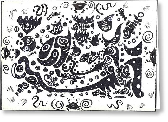 Rwjr Drawings Greeting Cards - Untitled Fish Piece Greeting Card by Robert Wolverton Jr