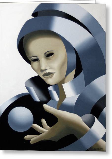 Untitled Futurist Mask Oil Painting Greeting Card by Mark Webster