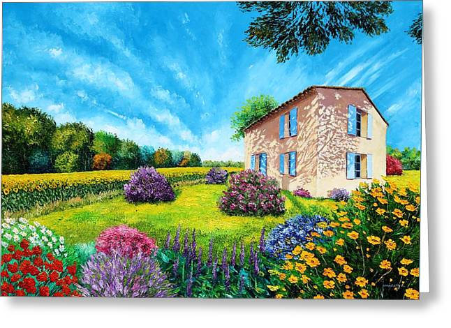 Fresh Air Greeting Cards - French Flowered Garden Greeting Card by Jean Marc Janiaczyk