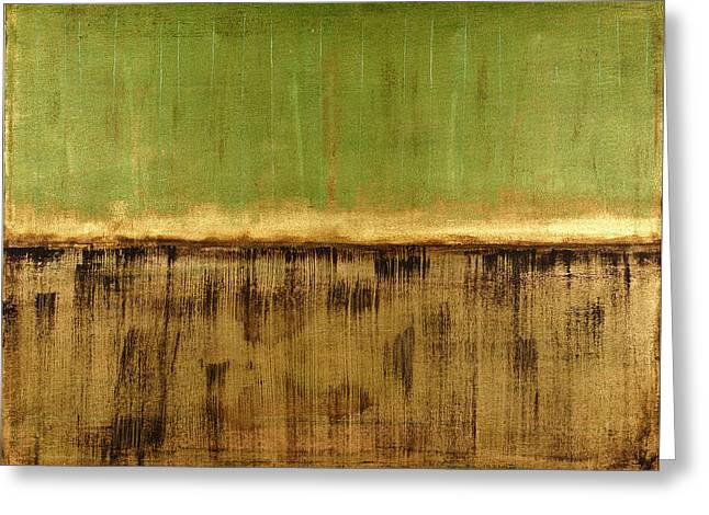Green Abstract Greeting Cards - Untitled No. 12 Greeting Card by Julie Niemela