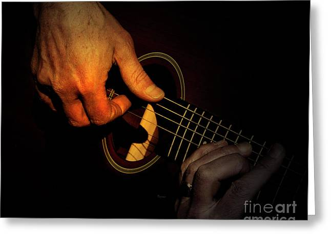 Playing Musical Instruments Greeting Cards - Untying the Sound  Greeting Card by Steven  Digman