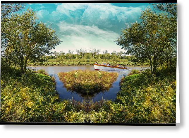 Boats In Water Greeting Cards - Up A Lazy River Greeting Card by John Anderson