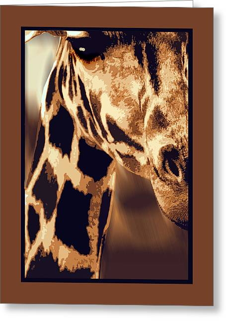 Silk Screen Greeting Cards - Up Close and Personal with a Giraffe Greeting Card by Elaine Plesser