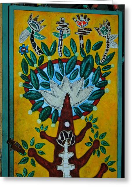 Up-cycled Tree Of Life 2 Greeting Card by Teresa Stallings