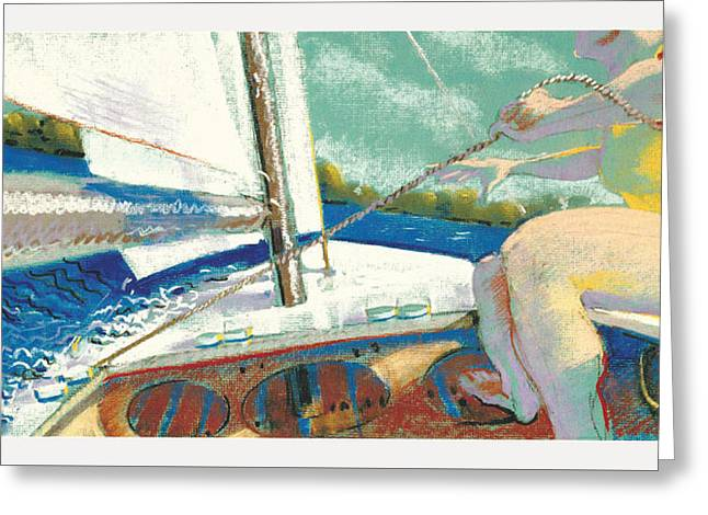Sailing Pastels Greeting Cards - Up Front Greeting Card by Brian Jones