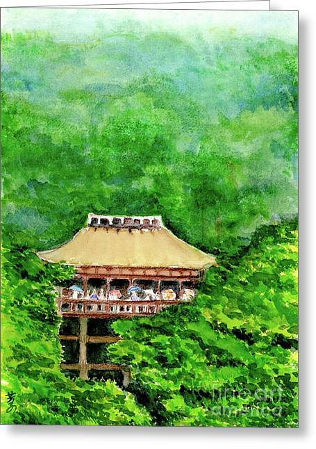 Wooden Building Drawings Greeting Cards - Up High Temple Greeting Card by Yoshiko Mishina