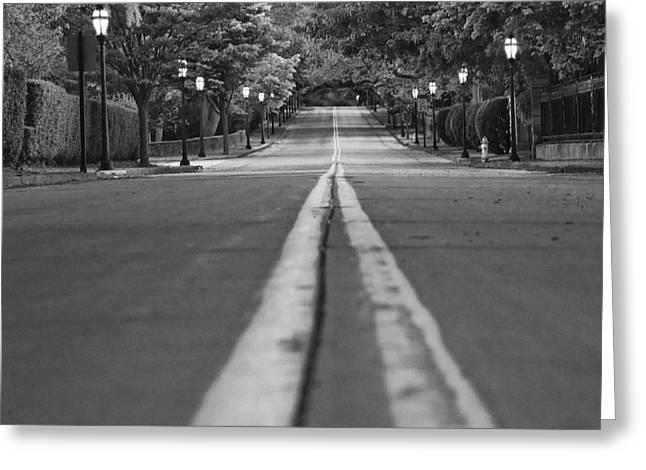 Road Travel Greeting Cards - Up Mansion Row Greeting Card by Joel P Black