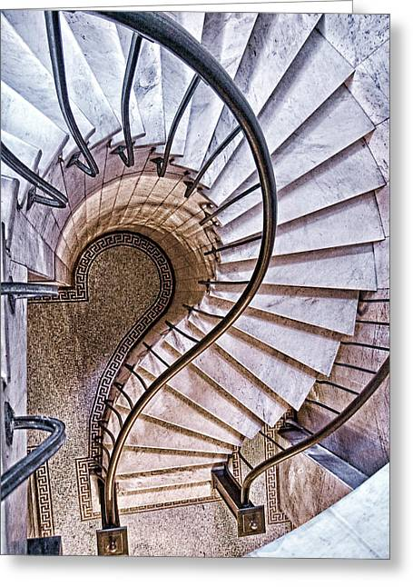 Spiral Staircase Photographs Greeting Cards - Up or Down? Greeting Card by Tom Mc Nemar