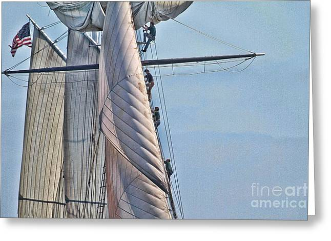 Tall Ships Greeting Cards - Up the rig Greeting Card by Philippe Gadeyne