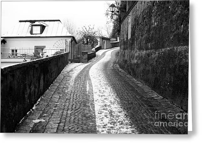 Art In Salzburg Greeting Cards - Up the Road in Salzburg Greeting Card by John Rizzuto