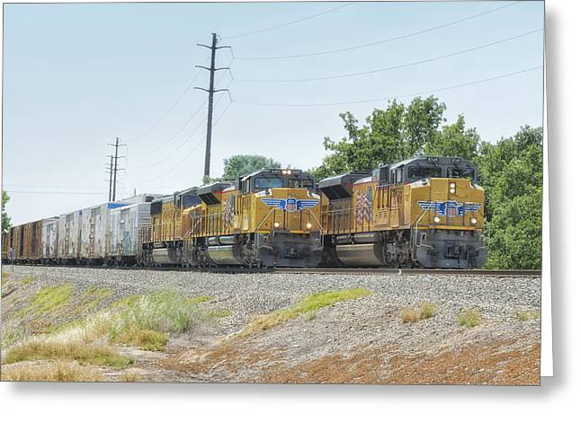 Union Pacific Greeting Cards - UP8749 and UP8483 Greeting Card by Jim Thompson