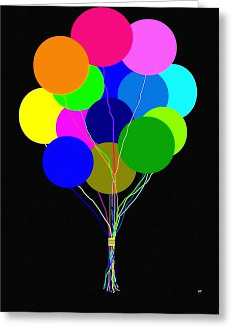 Merriment Greeting Cards - Upbeat Balloons Greeting Card by Will Borden