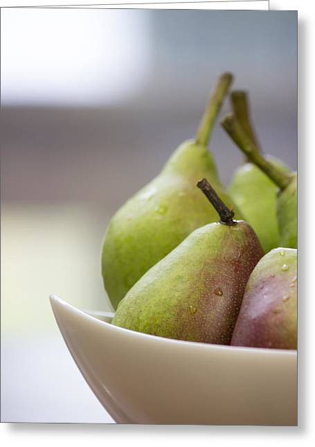 Table Greeting Cards - Upclose Pears Greeting Card by Jesse Valadez