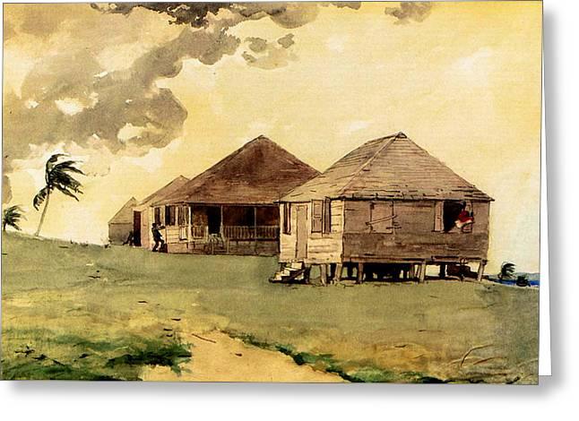 Upcoming Tornado Bahamas Greeting Card by Winslow Homer