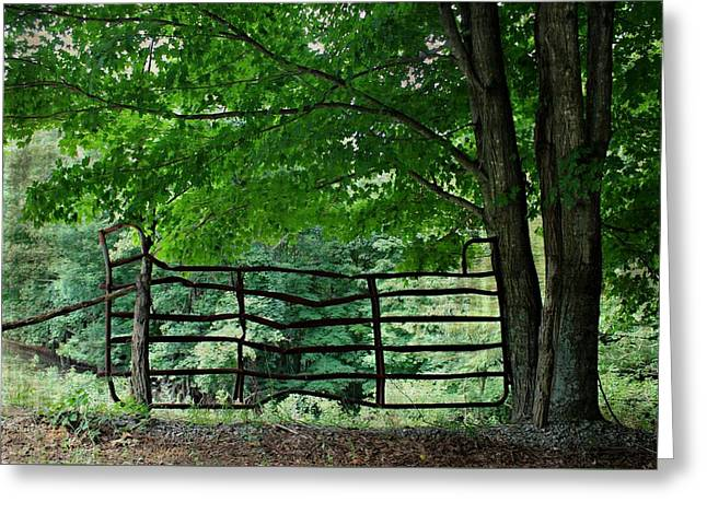 Crooked Fence Greeting Cards - Upon a Crooked Stile Greeting Card by Beverly Canterbury