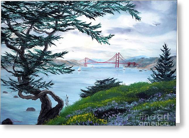 Cypress Trees Greeting Cards - Upon Seeing the Golden Gate Greeting Card by Laura Iverson