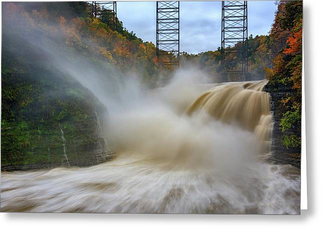 Upper Falls After A Storm Greeting Card by Rick Berk