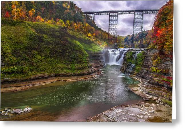 Upper Falls In Fall Greeting Card by Mark Papke