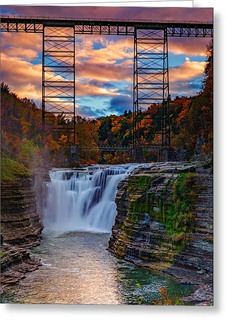 Fall Colors Greeting Cards - Upper Falls Letchworth State Park Greeting Card by Rick Berk