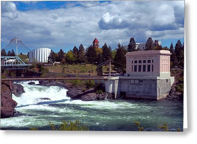 """spokane Falls"" Greeting Cards - UPPER FALLS of SPOKANE Greeting Card by Daniel Hagerman"