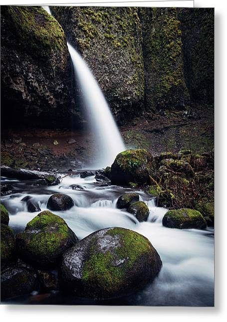 Seattle Photographs Greeting Cards - Upper Horsetail Falls Greeting Card by James Unkov