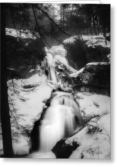 Cascade Greeting Cards - Upper Kent Falls Black and White Greeting Card by Bill Wakeley