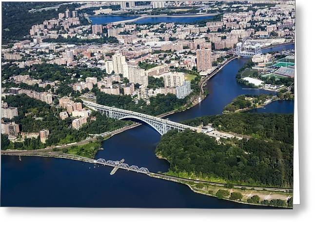 East River Drive Greeting Cards - Upper Manhattan Aerial View Greeting Card by Susan Candelario