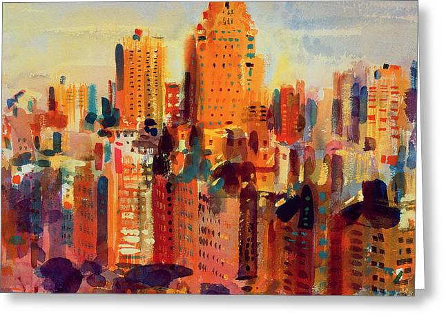 Midtown Greeting Cards - Upper Manhattan Greeting Card by Peter Graham