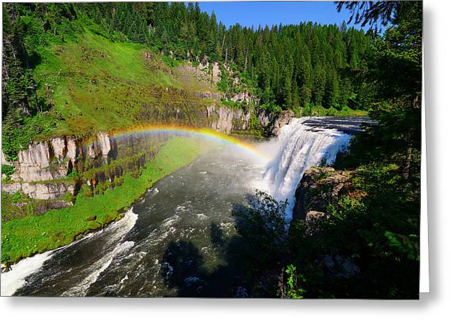 Great Falls Of Yellowstone Greeting Cards - Upper Mesa Falls Greeting Card by Greg Norrell