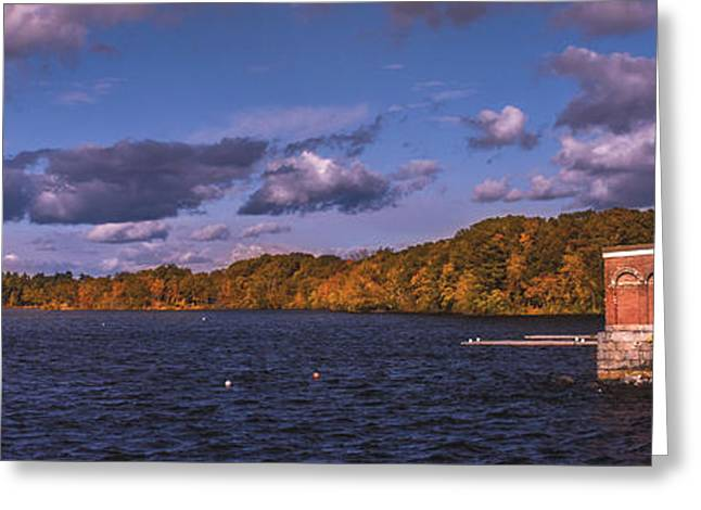 Mystic Setting Pyrography Greeting Cards - Upper Mystic Lake Greeting Card by Tim Casara