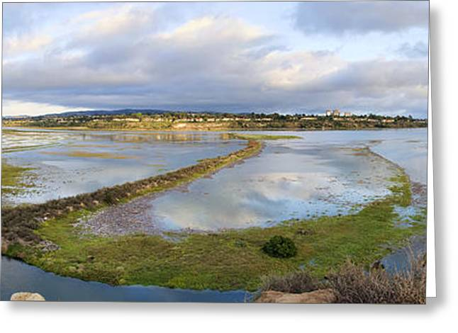 Panoramic Ocean Digital Greeting Cards - Upper Newport Bay Nature Preserve Panorama Greeting Card by Eddie Yerkish