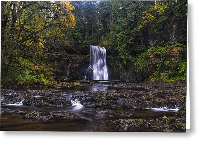 Moss Green Photographs Greeting Cards - Upper North Falls Greeting Card by Mark Kiver