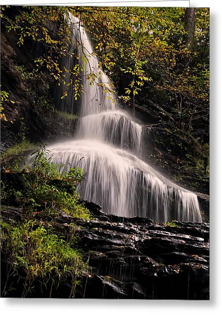 Waterfall Image Greeting Cards - upper portion of Cathedral Falls Greeting Card by Chris Flees