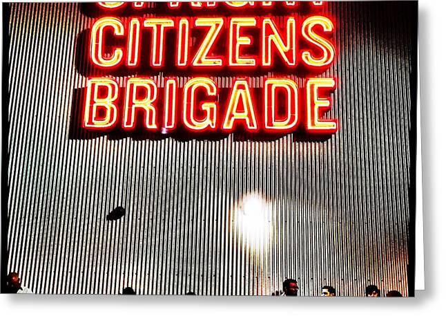 Brigade Greeting Cards - Upright Citizens Brigade Greeting Card by Cathy Reinking